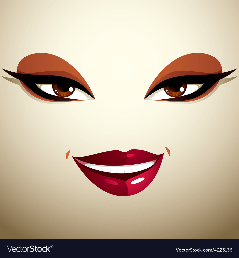 Coquette glad smiling woman eyes and lips stylish vector | Price: 1 Credit (USD $1)
