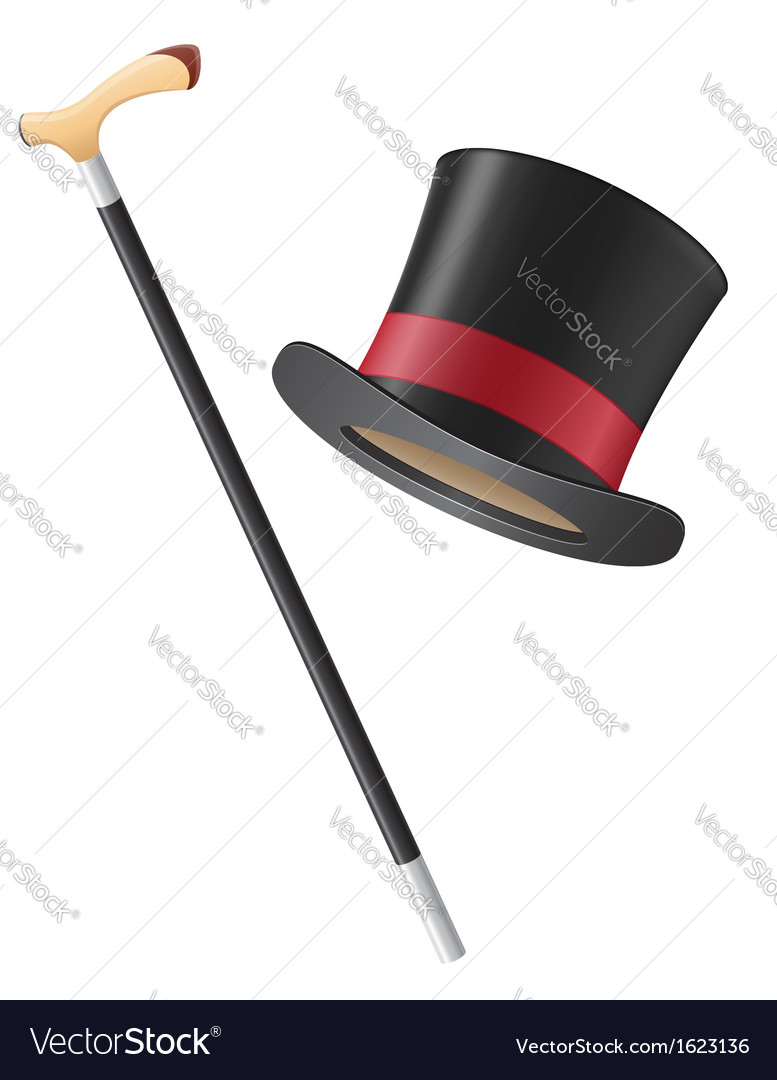 Cylinder hat and walking stick vector | Price: 1 Credit (USD $1)