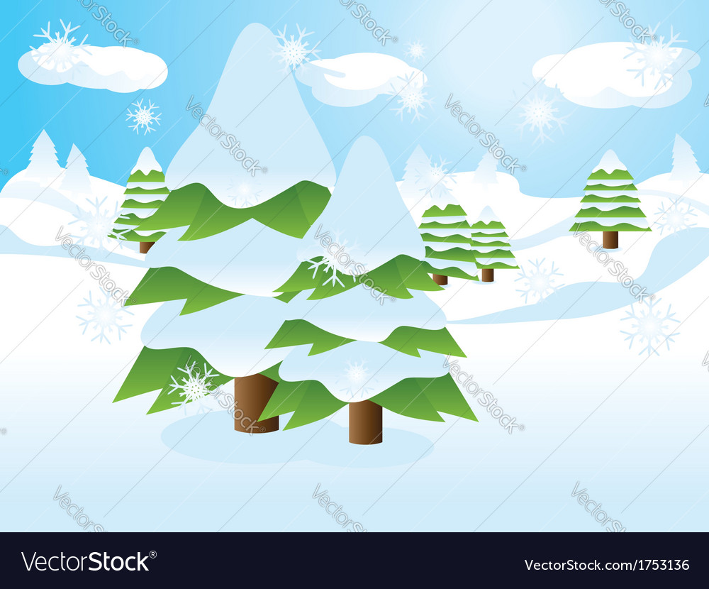 Fir trees on slope vector | Price: 1 Credit (USD $1)