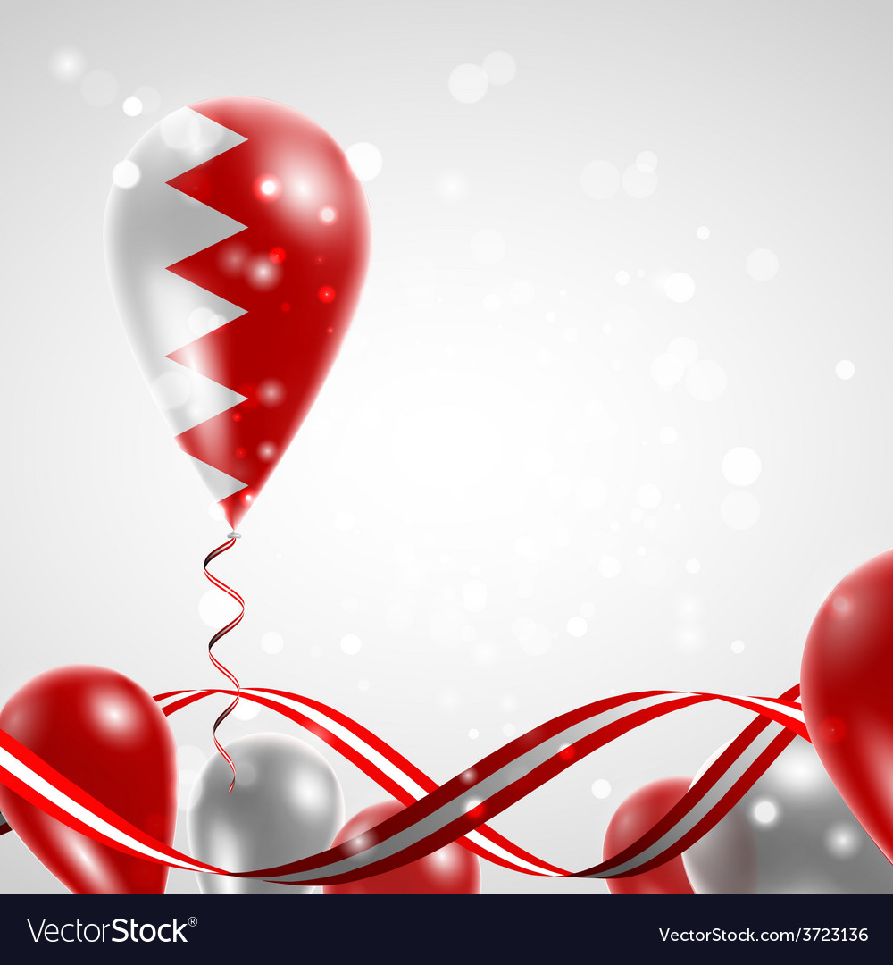 Flag of bahrain on balloon vector | Price: 1 Credit (USD $1)