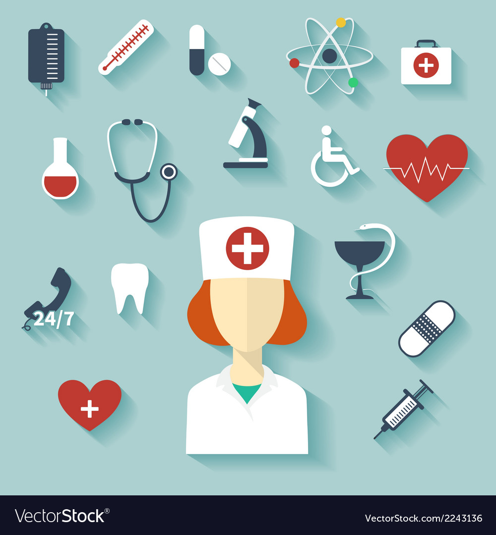 Flat design modern of medical icons vector | Price: 1 Credit (USD $1)