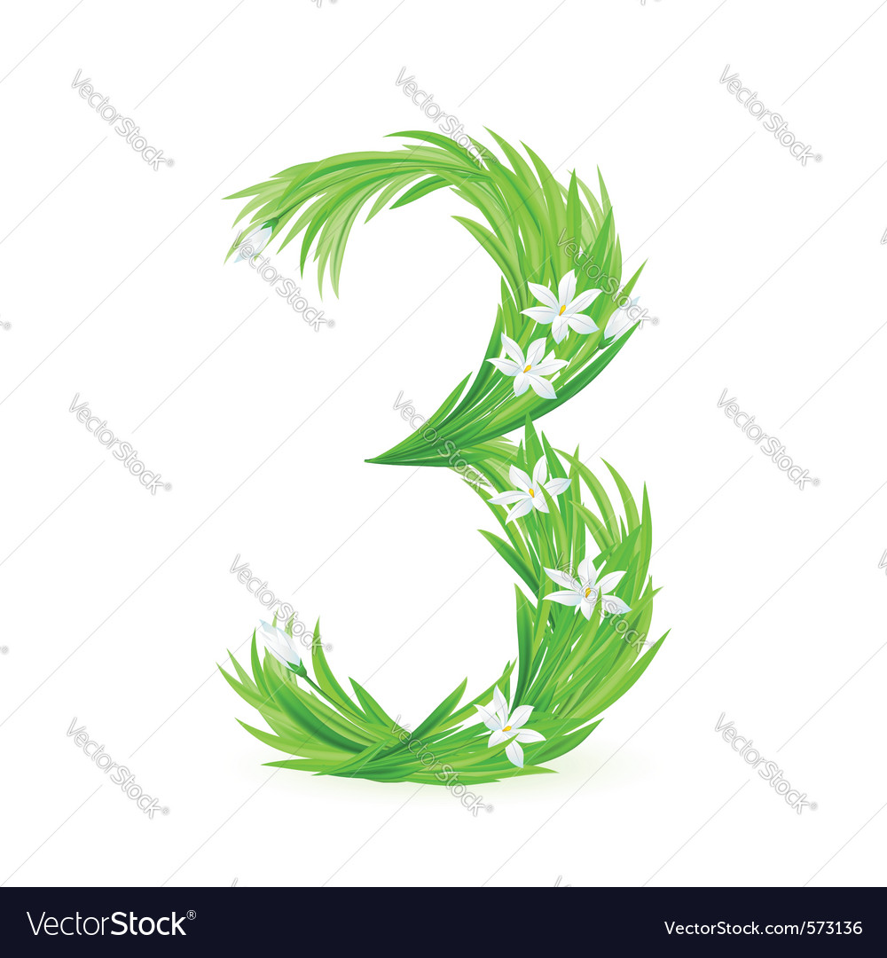 Grass letters number 3 vector | Price: 1 Credit (USD $1)
