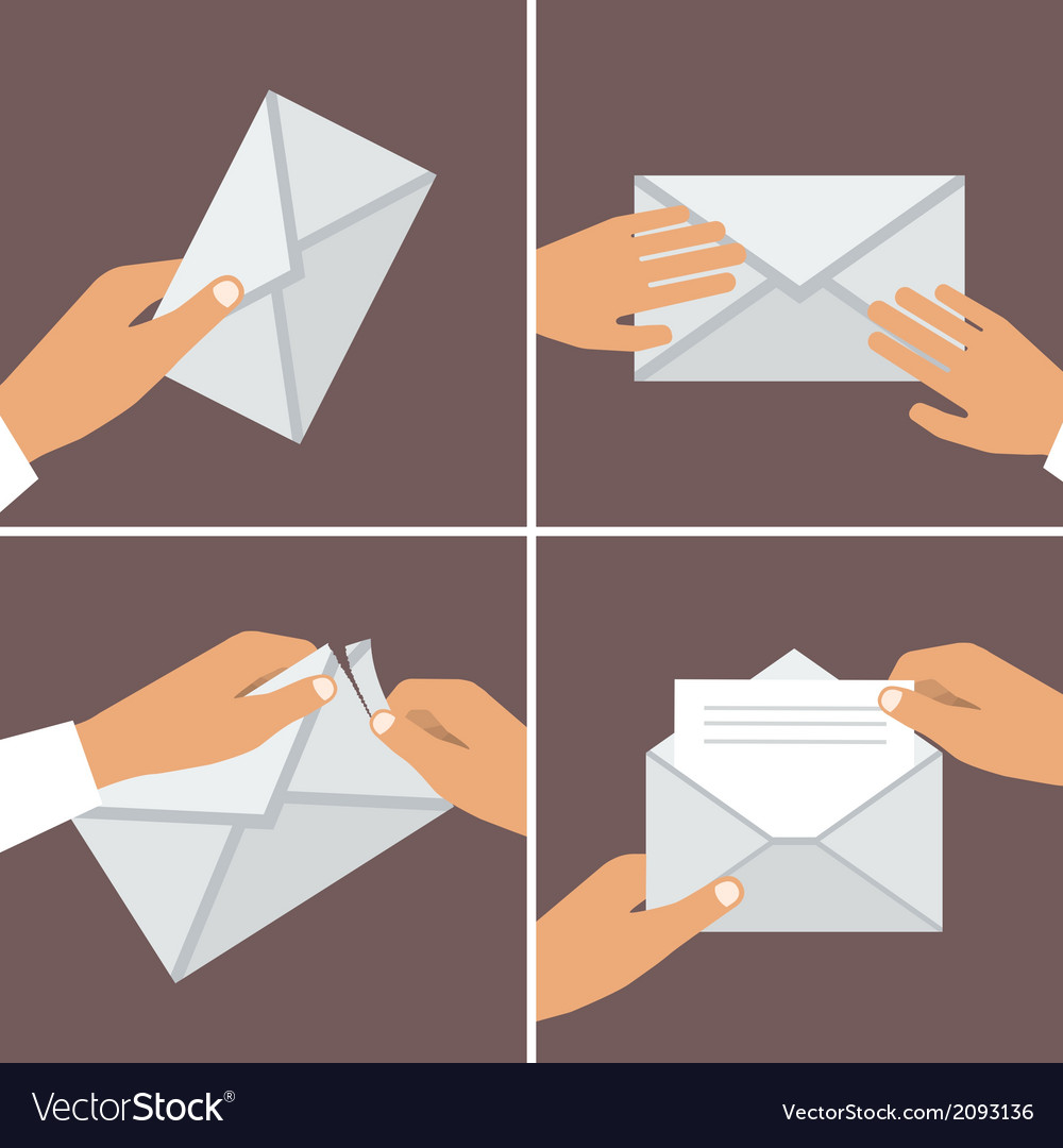Hand holding envelope flat style set vector | Price: 1 Credit (USD $1)