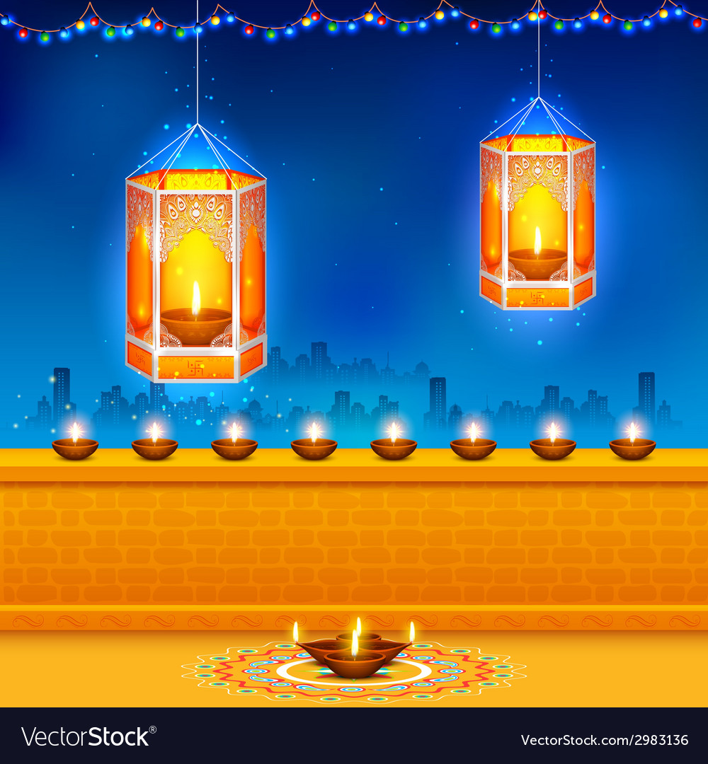 Hanging kandil in diwali night vector | Price: 1 Credit (USD $1)