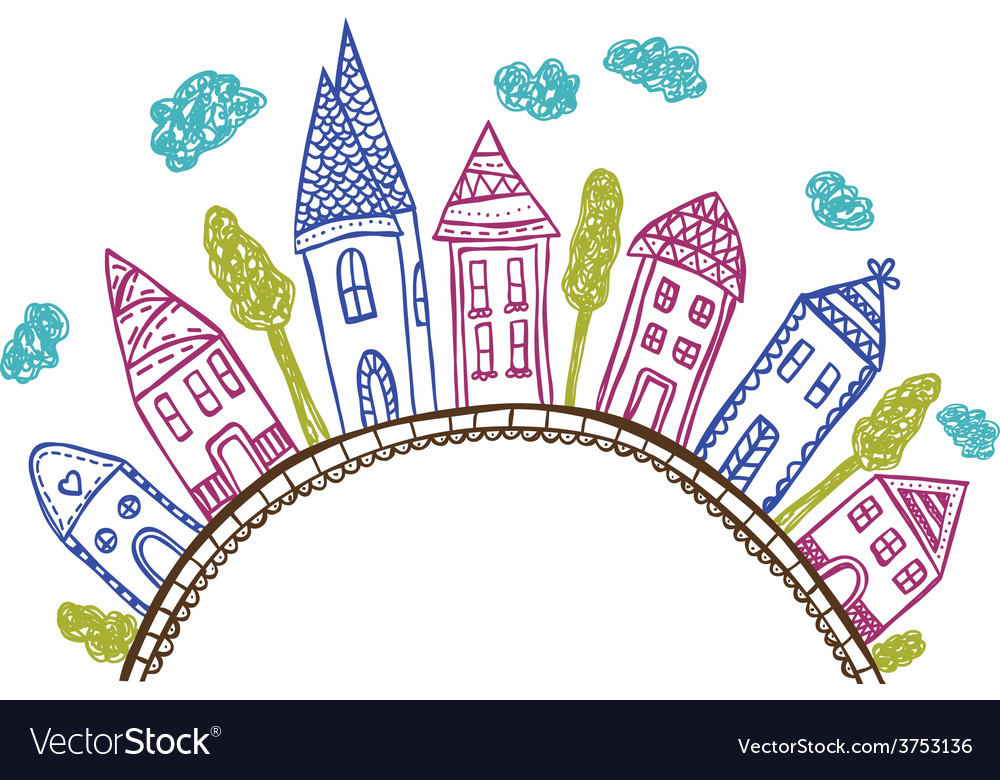 Houses on hill - doodle vector | Price: 1 Credit (USD $1)