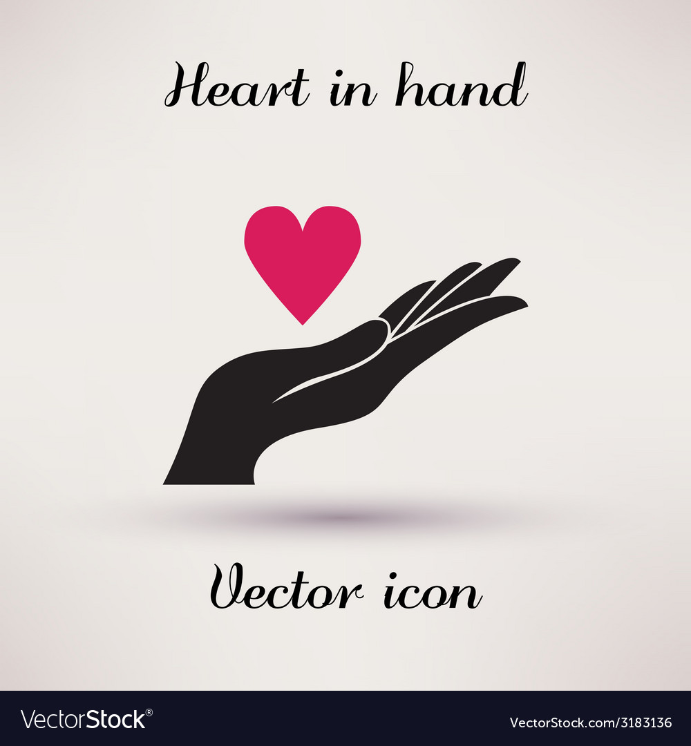 Pictograph of heart in hand icon template for vector | Price: 1 Credit (USD $1)