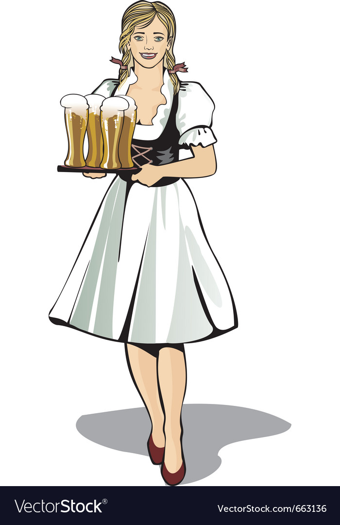 Pub waitress beer festival vector | Price: 3 Credit (USD $3)