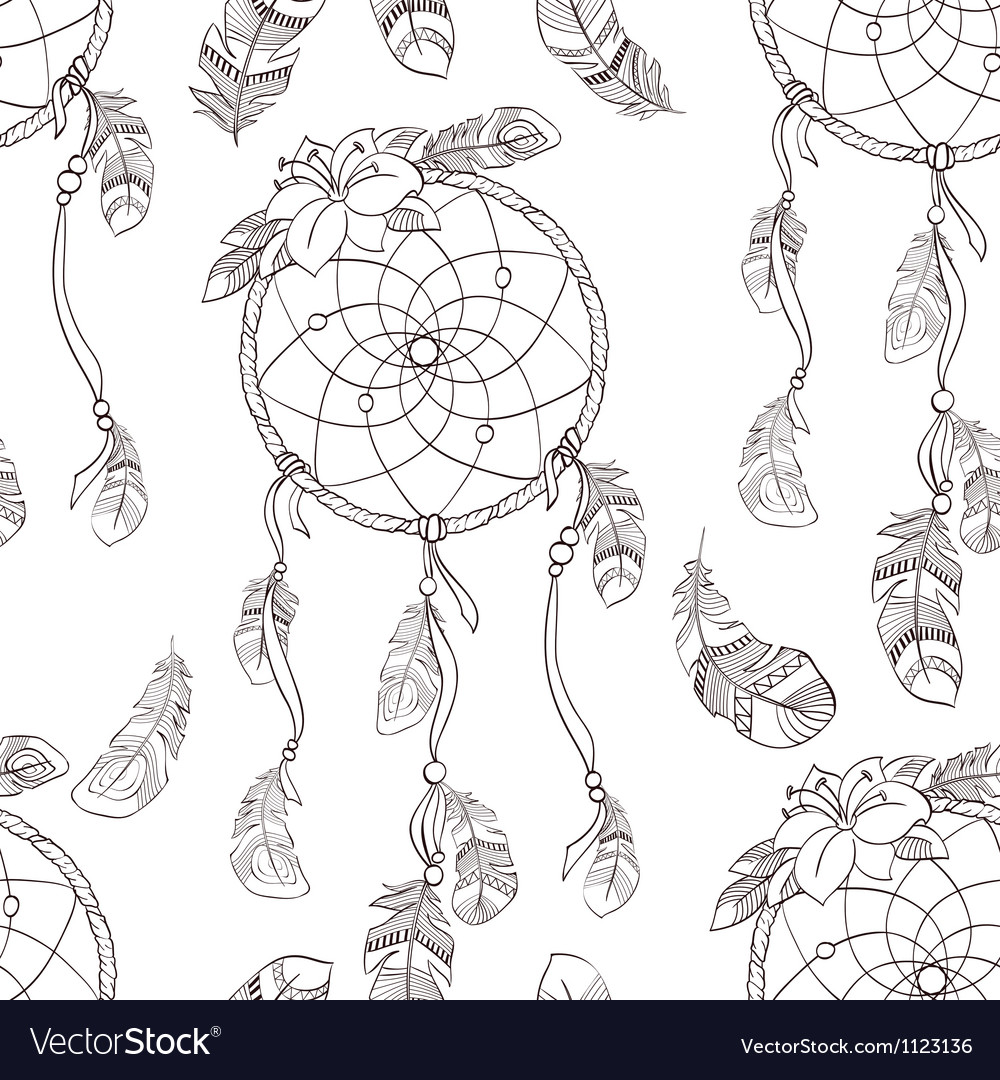 Seamless ethnic ornate dreamcatcher pattern vector | Price: 1 Credit (USD $1)