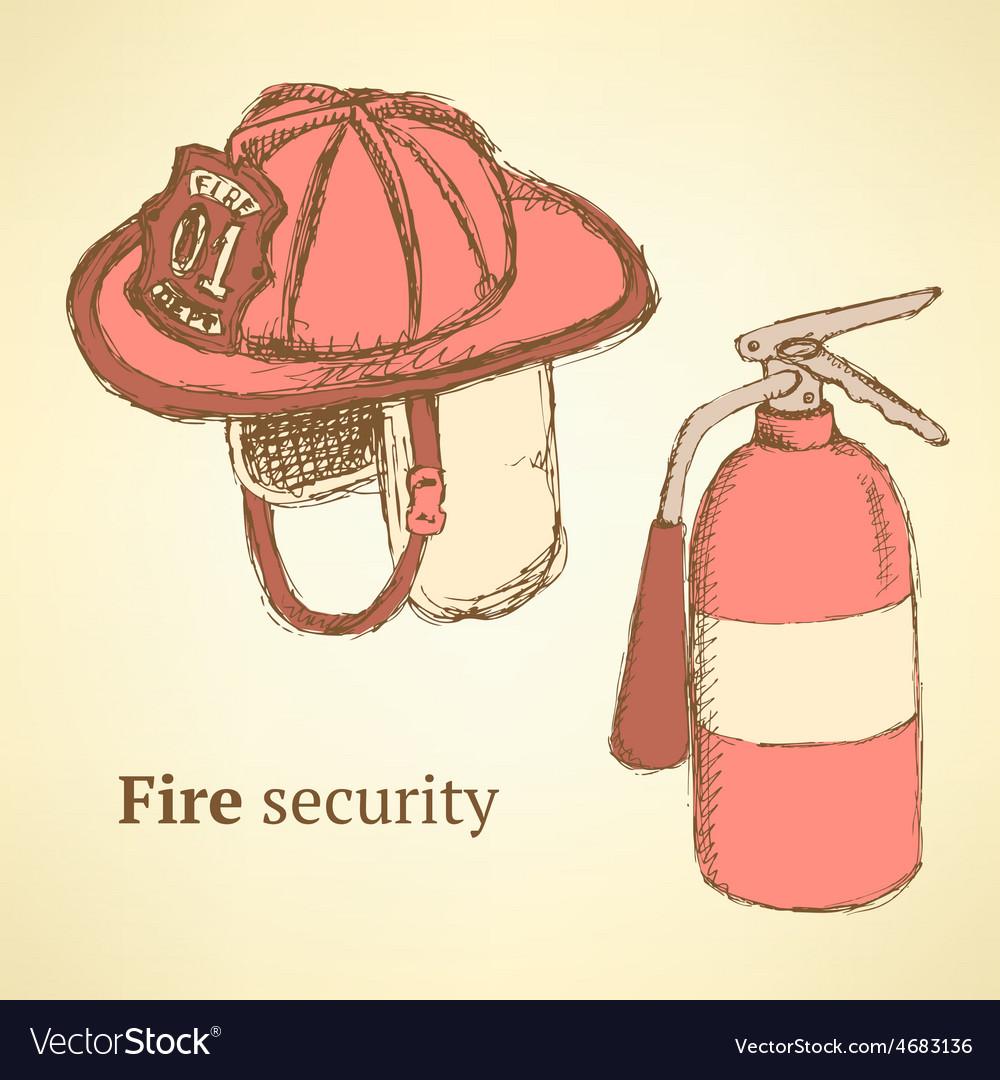 Sketch fire helmet and extinguisher in vintage vector | Price: 1 Credit (USD $1)