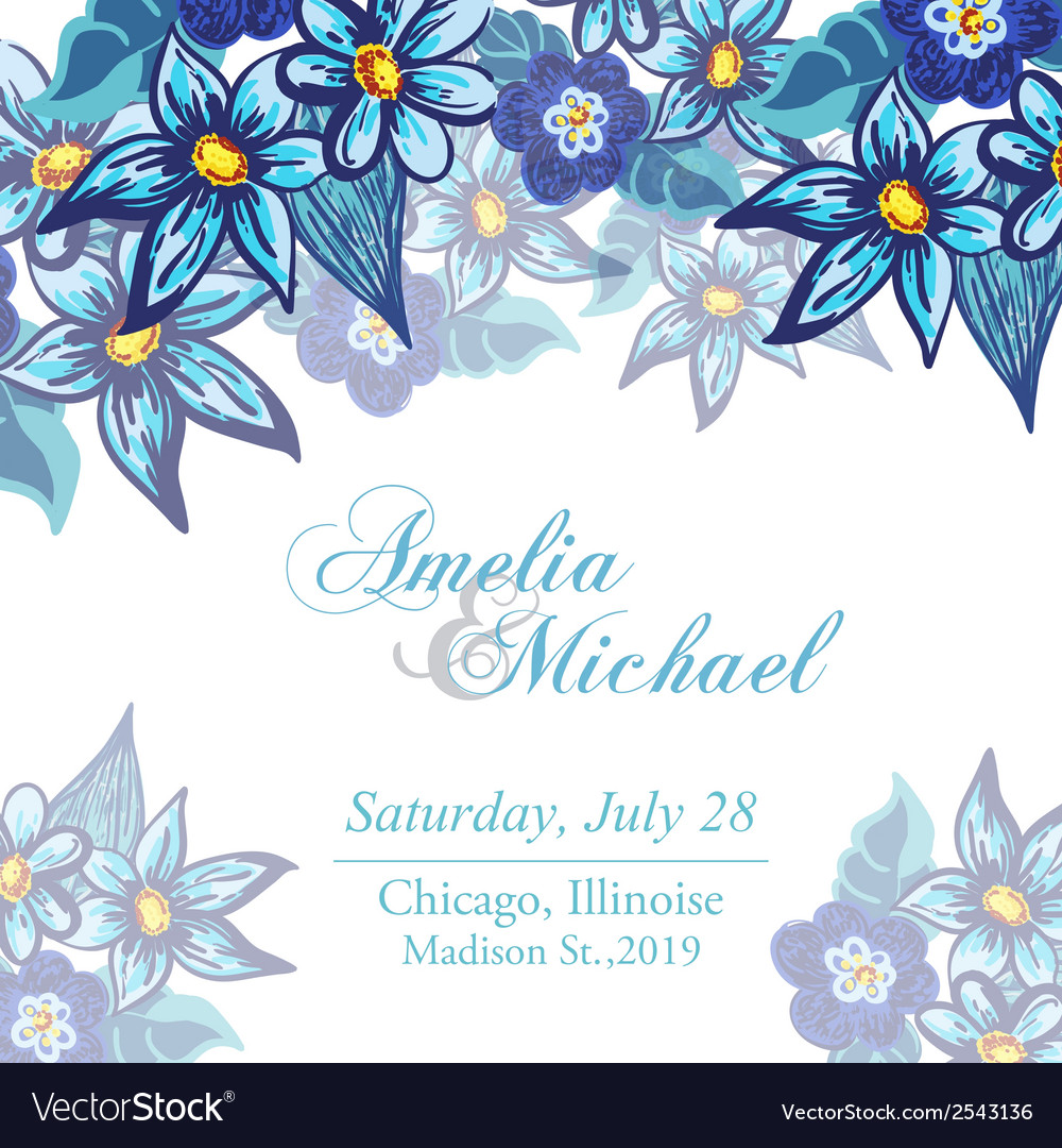 Wedding invitation card with blue flowers vector | Price: 1 Credit (USD $1)