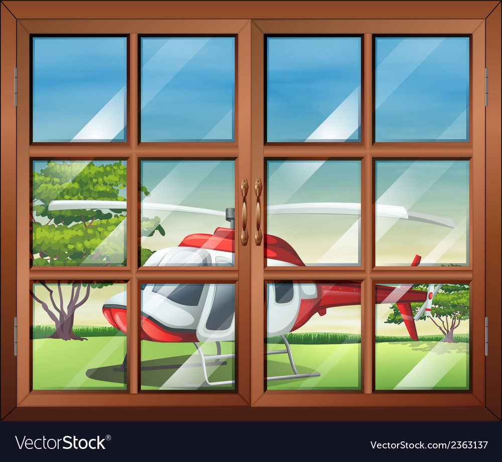 A closed window with a view of the chopper outside vector | Price: 3 Credit (USD $3)