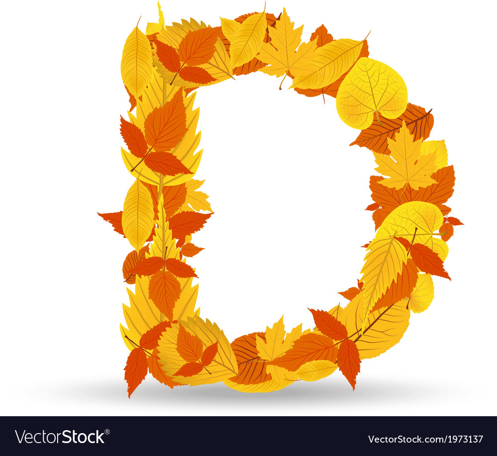 Autumn leaves font letter d vector | Price: 1 Credit (USD $1)