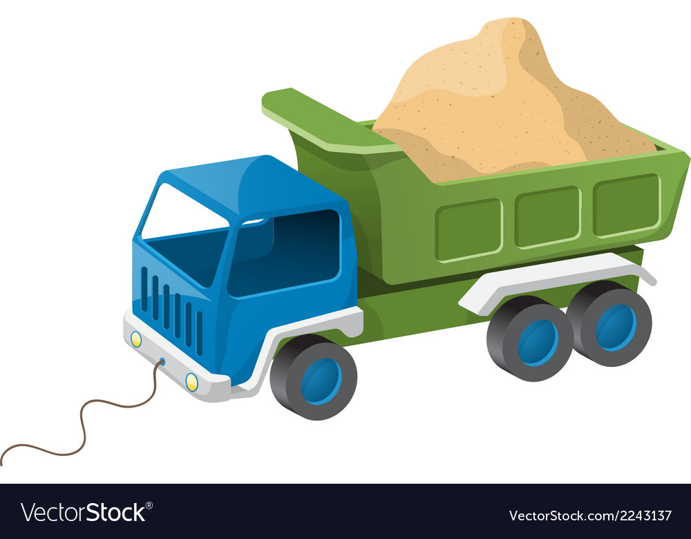 Colorful dump truck toy with sand vector | Price: 1 Credit (USD $1)