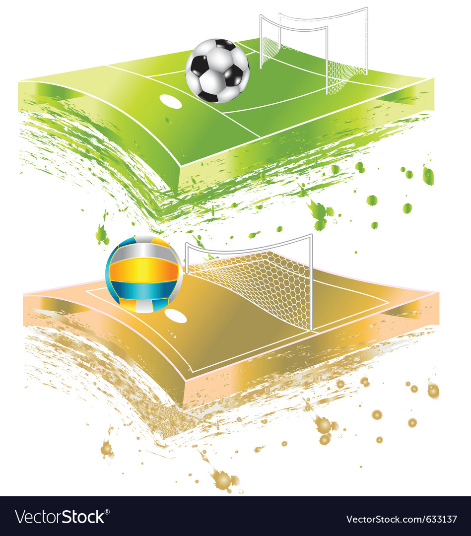 Football field and volleyball field vector | Price: 1 Credit (USD $1)