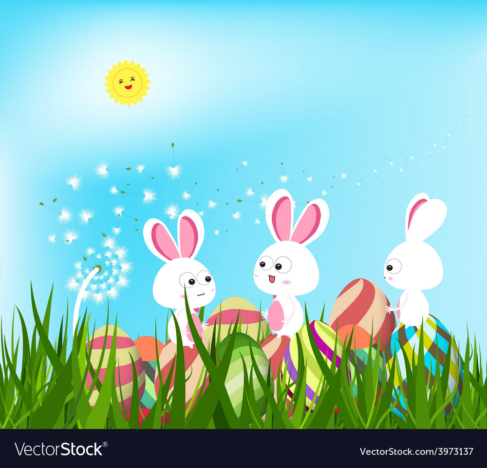Happy easter eggs and bunny background with white vector | Price: 1 Credit (USD $1)