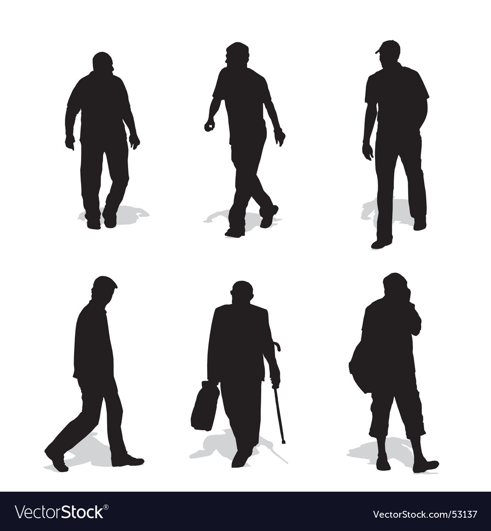 Men walking silhouettes vector | Price: 1 Credit (USD $1)