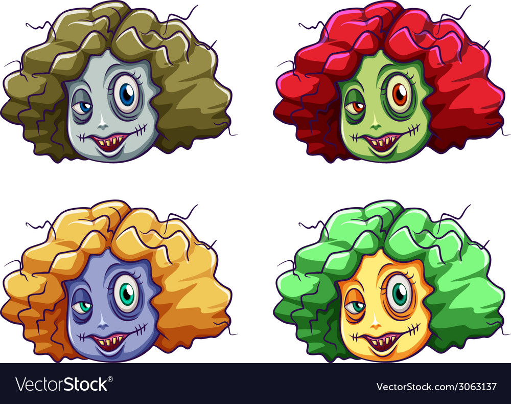 Scary faces of a zombie vector   Price: 1 Credit (USD $1)