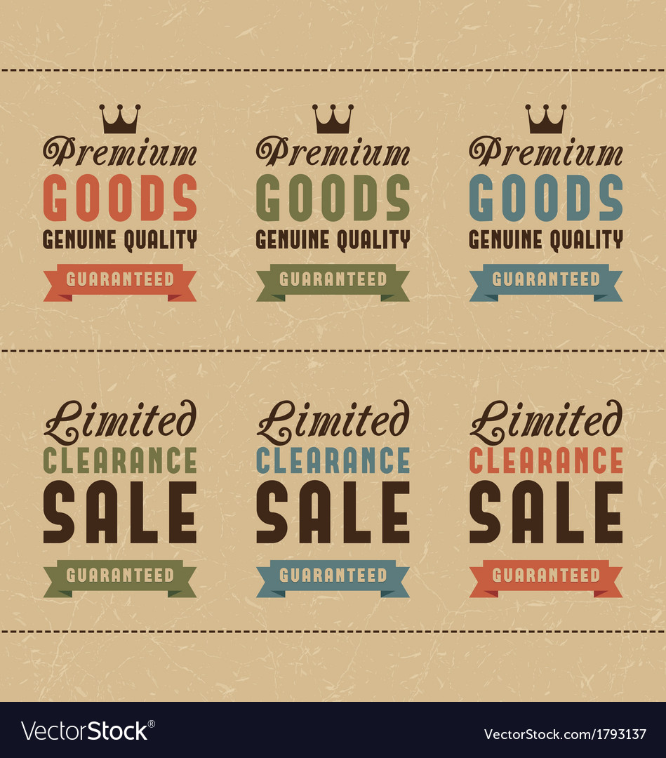 Set of discount sale and quality labels vector | Price: 1 Credit (USD $1)