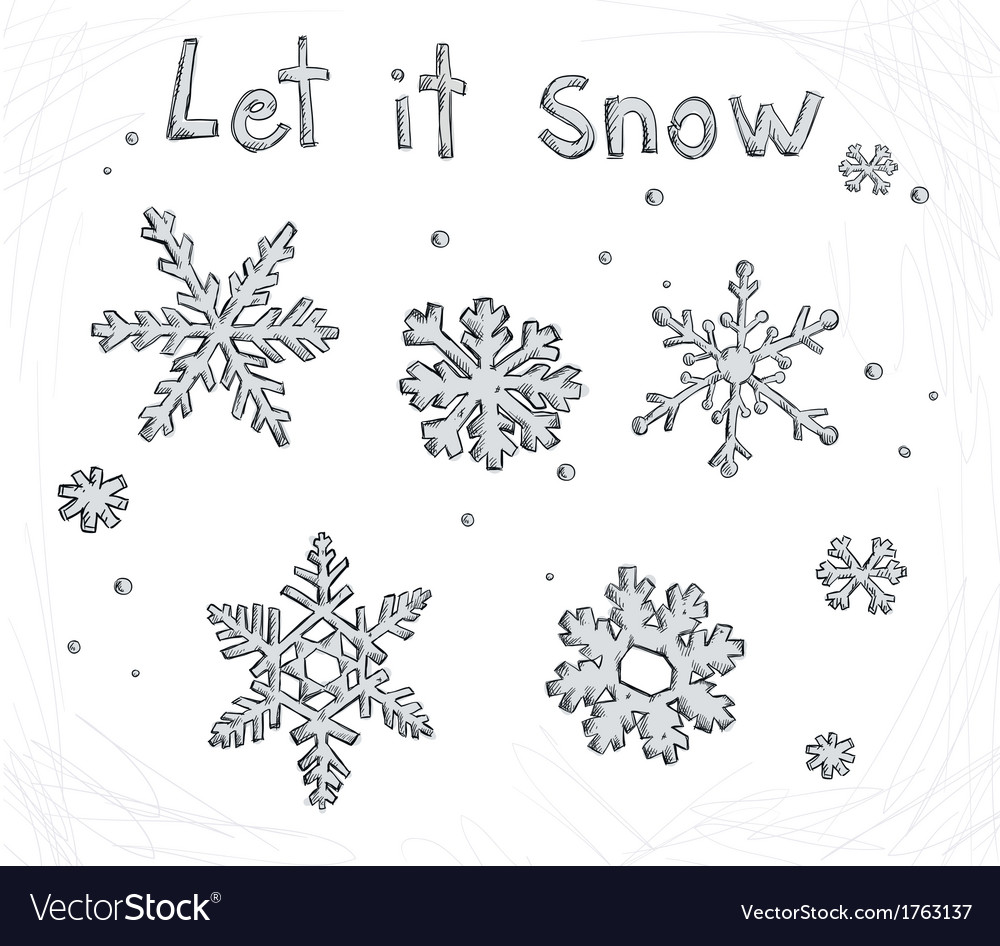 Set of doodle snowflakes let it snow vector | Price: 1 Credit (USD $1)