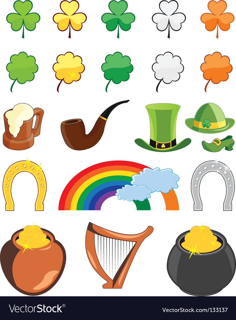 St patrick's day icon set vector | Price: 1 Credit (USD $1)