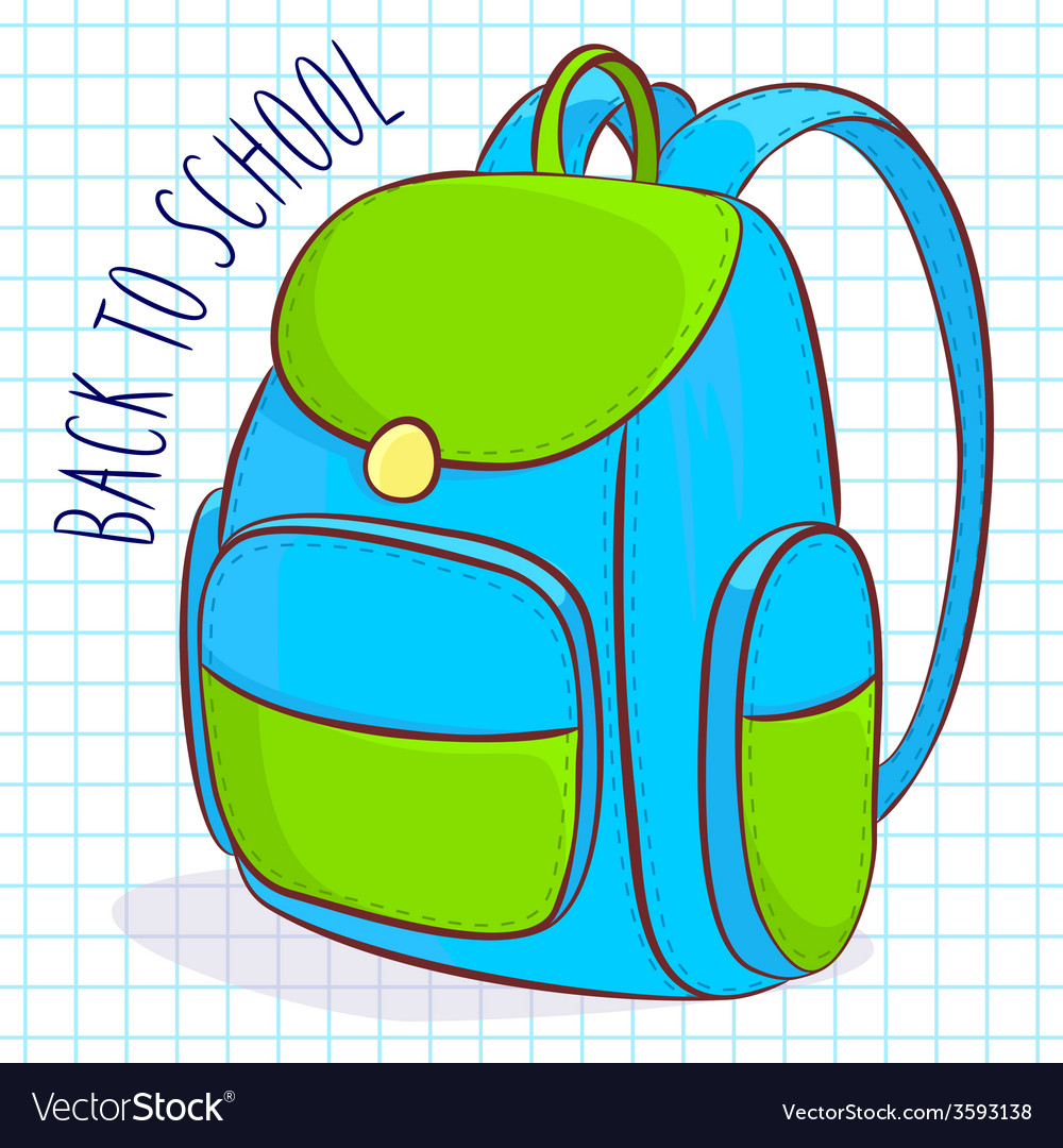 Blue and green school bag vector | Price: 1 Credit (USD $1)