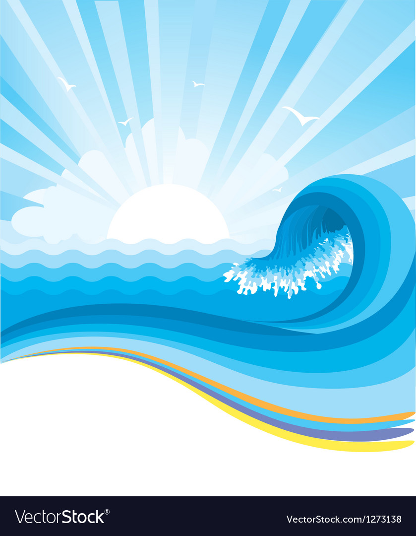 Blue wave in ocean horizon vector | Price: 1 Credit (USD $1)