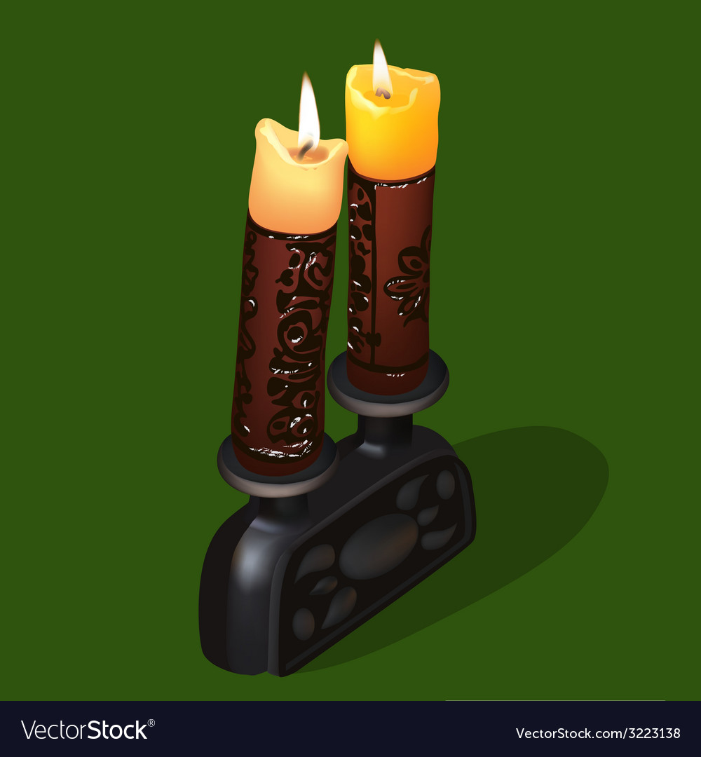 Burning old ornamental candles vector | Price: 1 Credit (USD $1)