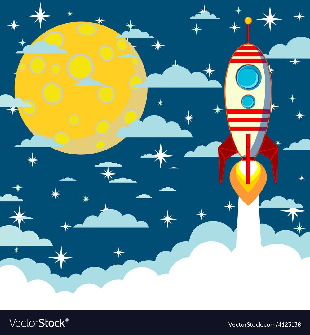 Cartoon rocket takes off vector   Price: 1 Credit (USD $1)