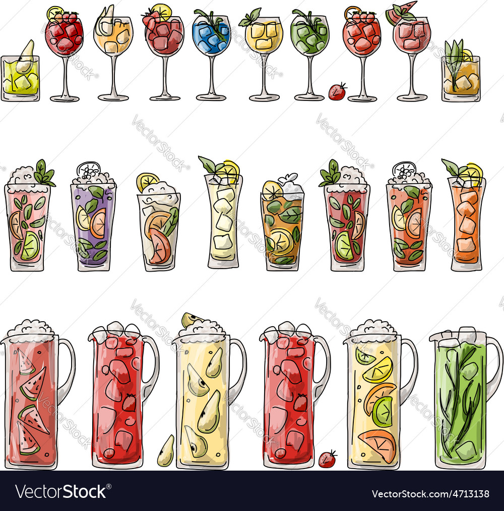 Cocktails collection sketch for your design vector | Price: 1 Credit (USD $1)