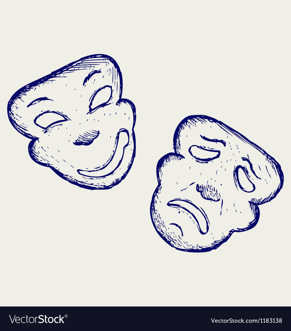 Comedy and tragedy theater masks vector | Price: 1 Credit (USD $1)