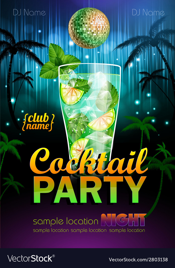 Disco background cocktail party poster vector | Price: 1 Credit (USD $1)