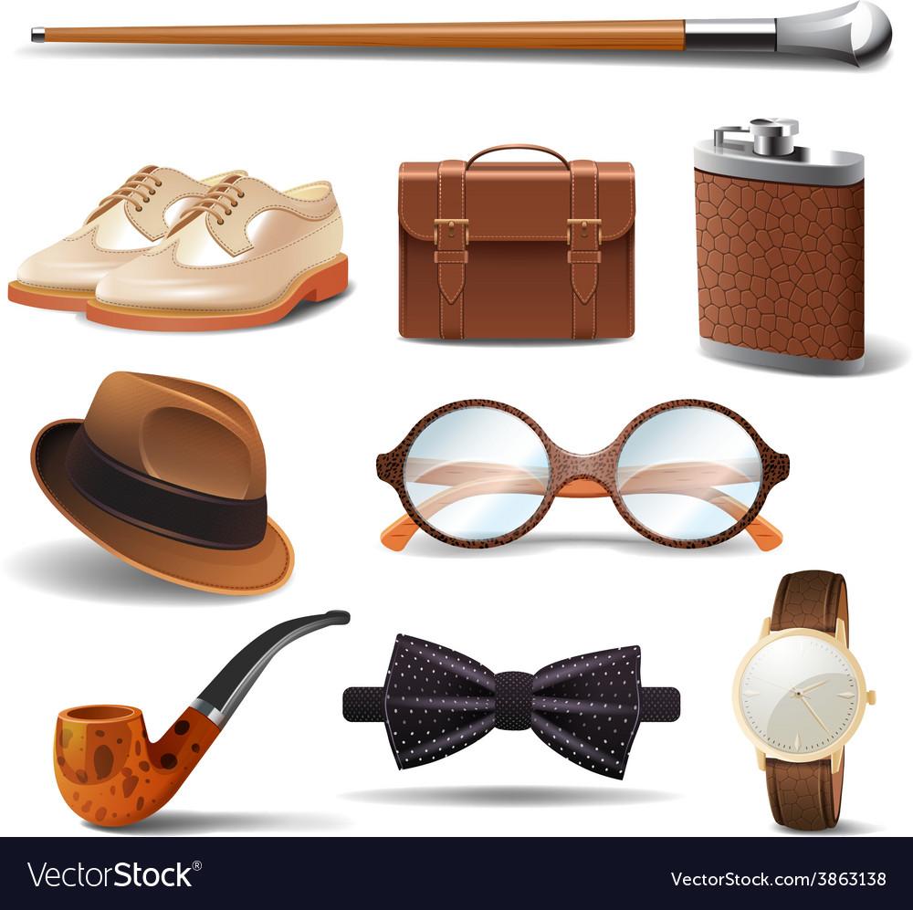 Gentleman realistic set vector | Price: 1 Credit (USD $1)