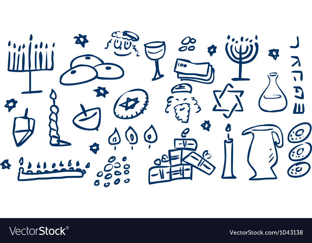 Hanukkah symbols doodles vector | Price: 1 Credit (USD $1)