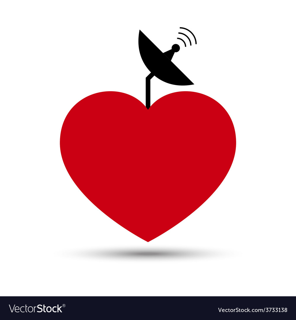 Love heart with satellite dish vector | Price: 1 Credit (USD $1)