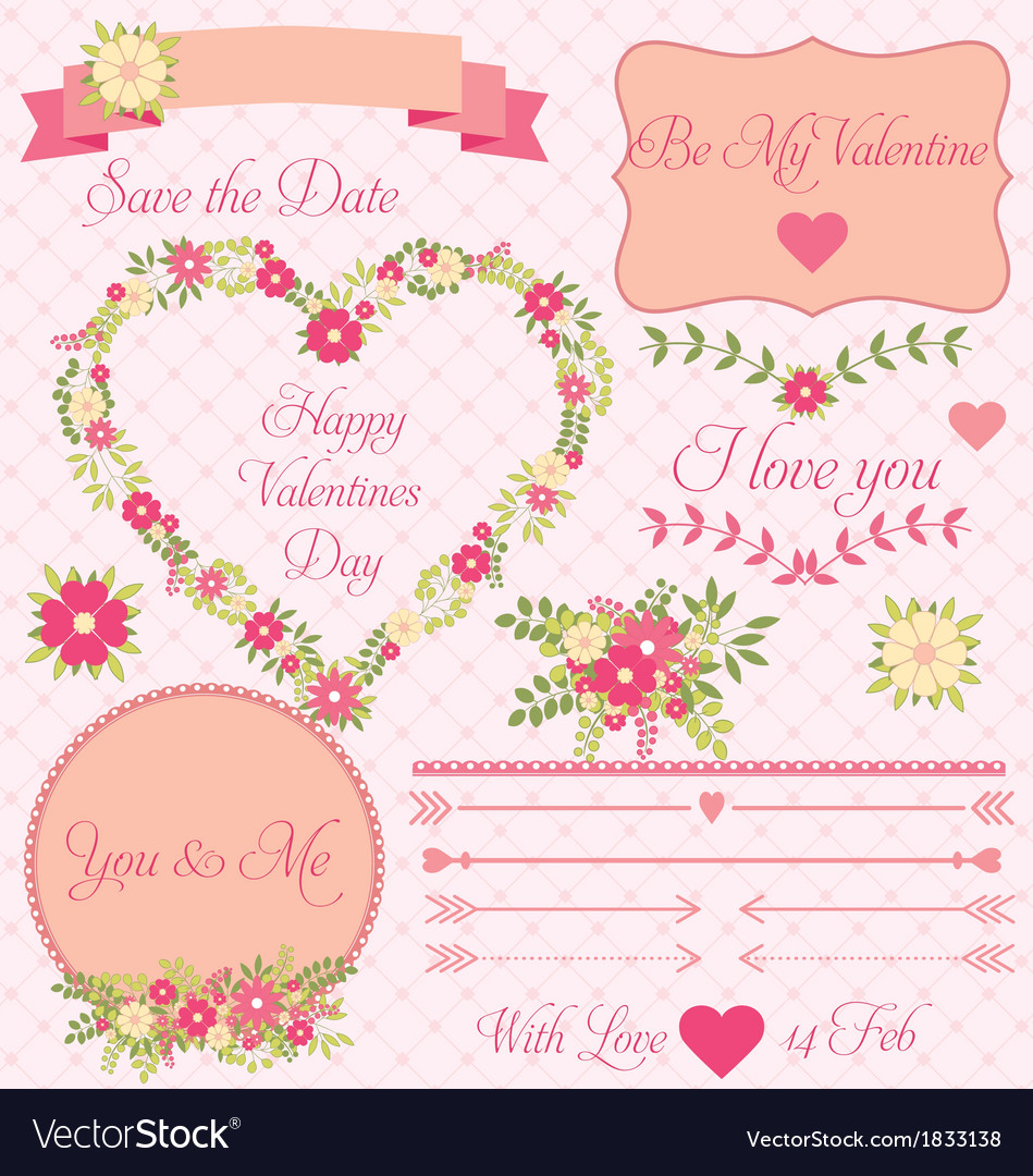 Set of decorative valentines flower design vector | Price: 1 Credit (USD $1)