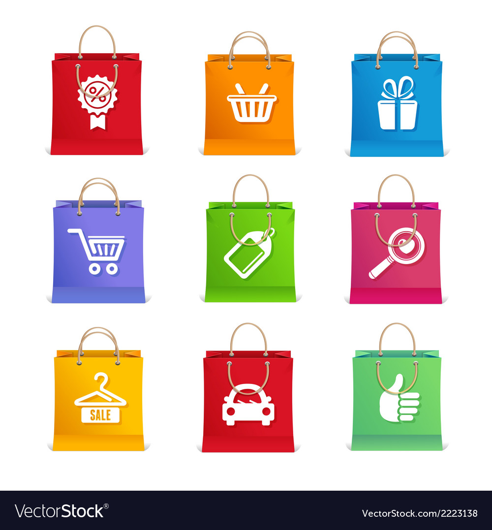 Shopping icon set on shopping bag vector | Price: 1 Credit (USD $1)