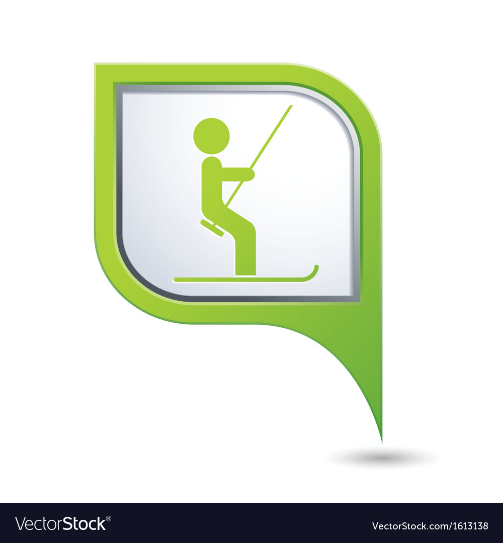 Ski lift icon green map pointer copy vector | Price: 1 Credit (USD $1)