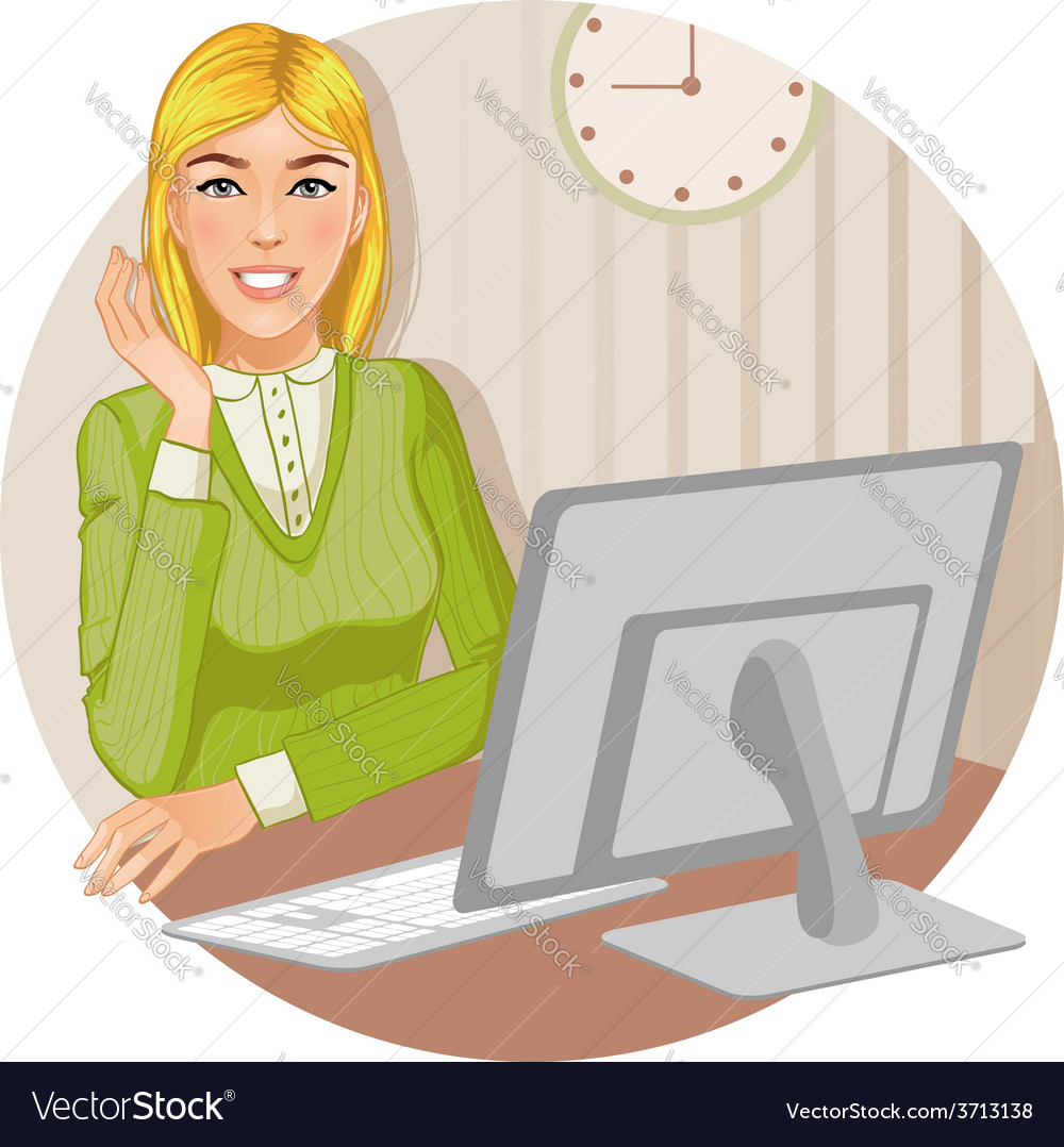 Young woman at the computer eps10 vector | Price: 1 Credit (USD $1)