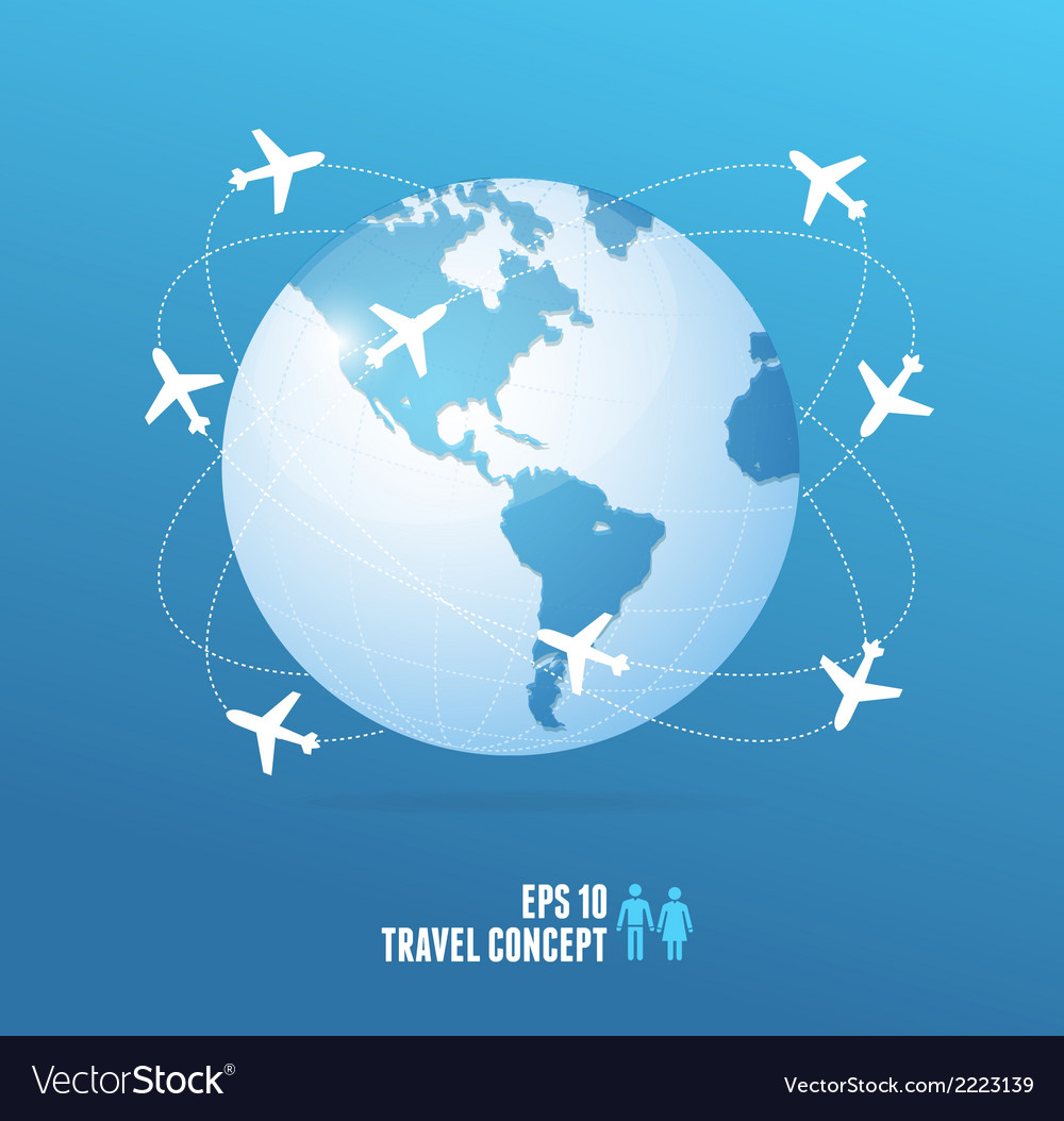 Airplanes flying around the globe travel concept vector | Price: 1 Credit (USD $1)