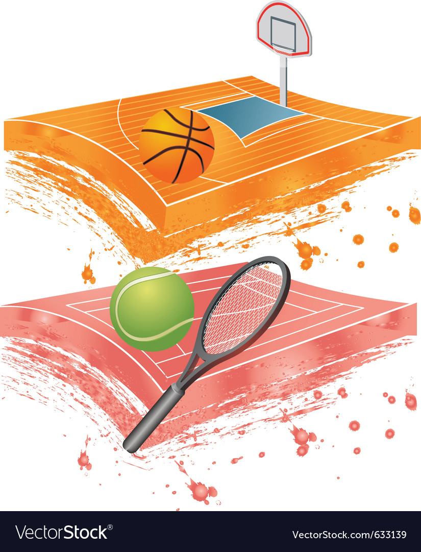 Basketball field and tennis field vector | Price: 1 Credit (USD $1)