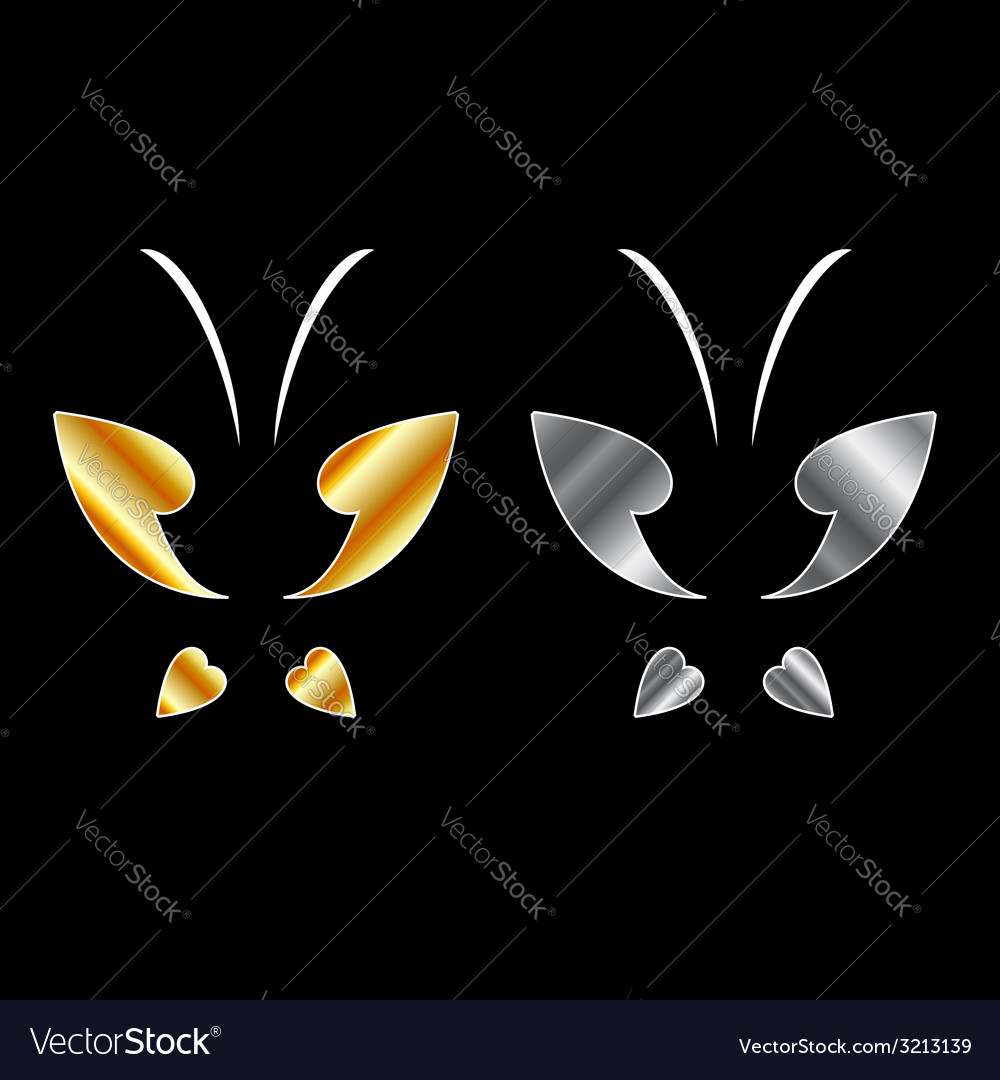 Butterfly logo in gold and silver colors vector | Price: 1 Credit (USD $1)