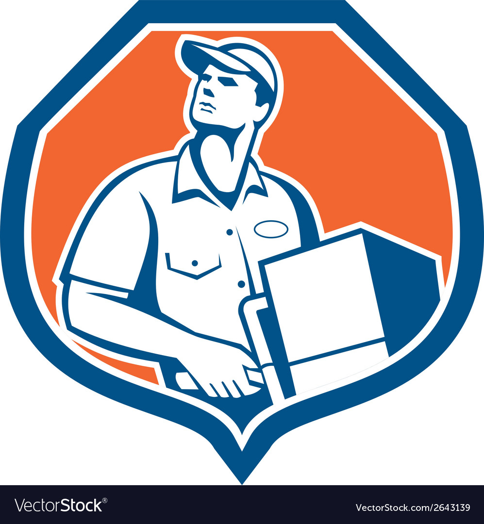 Delivery worker deliver package carton box retro vector | Price: 1 Credit (USD $1)