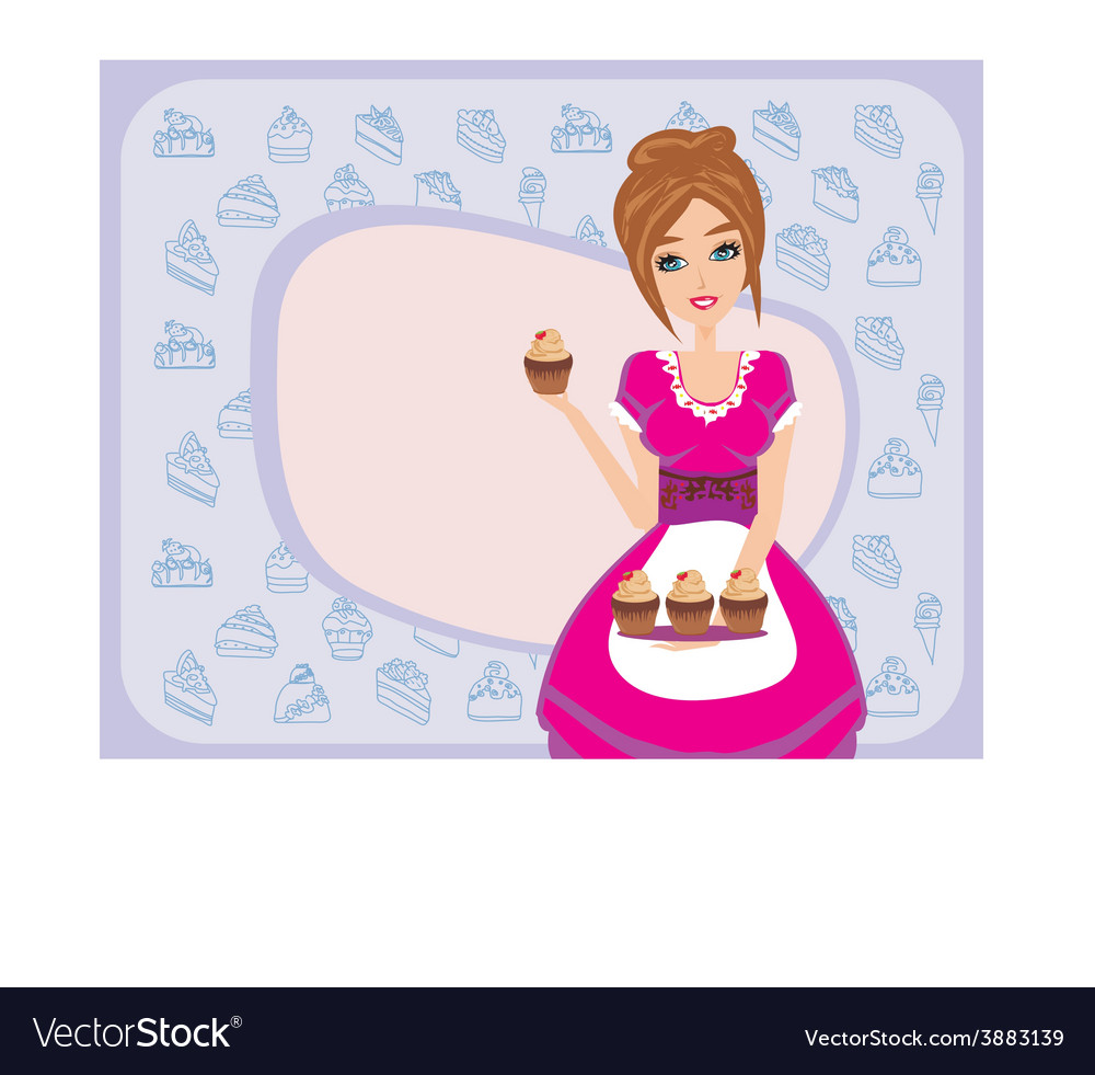 Housewife serving chocolate cupcakes vector | Price: 1 Credit (USD $1)