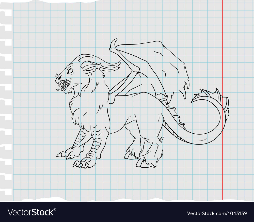 Monster line art vector | Price: 1 Credit (USD $1)
