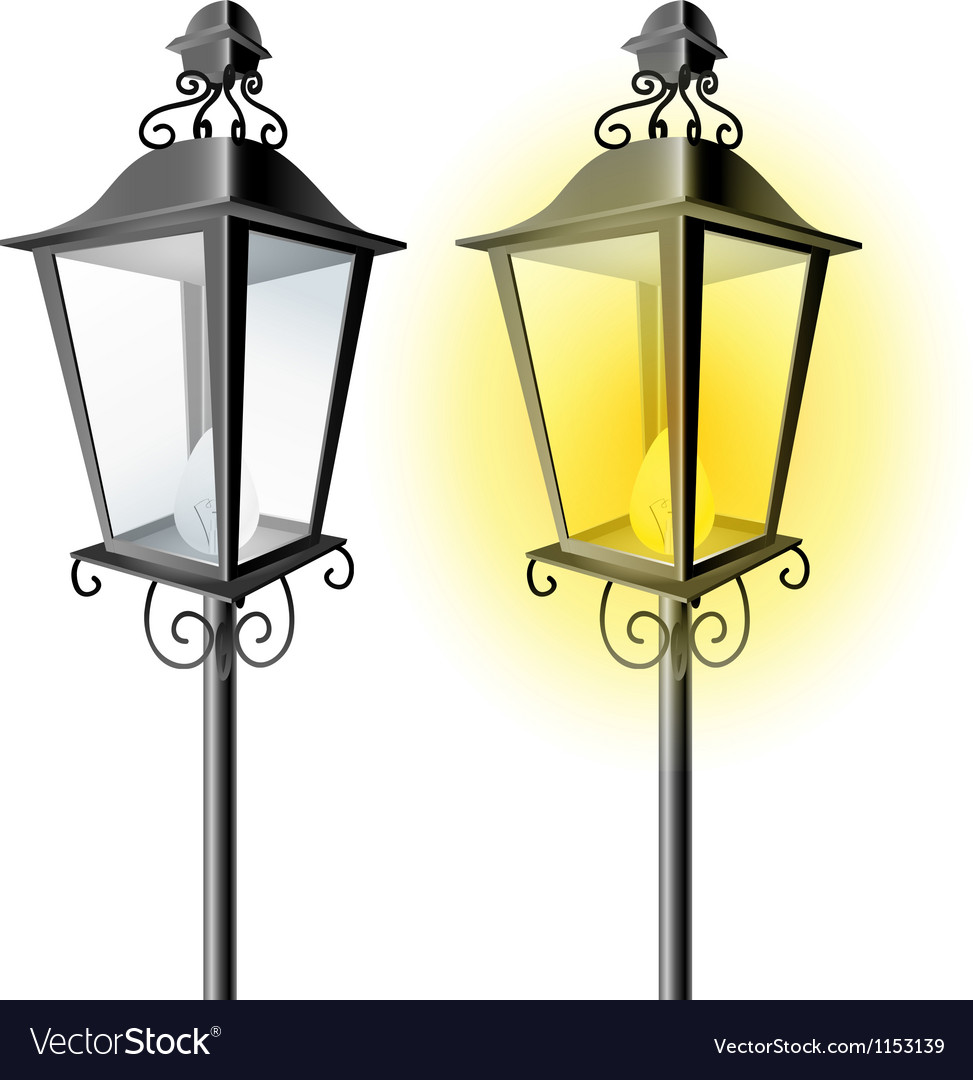 Old vintage street lamp vector | Price: 1 Credit (USD $1)