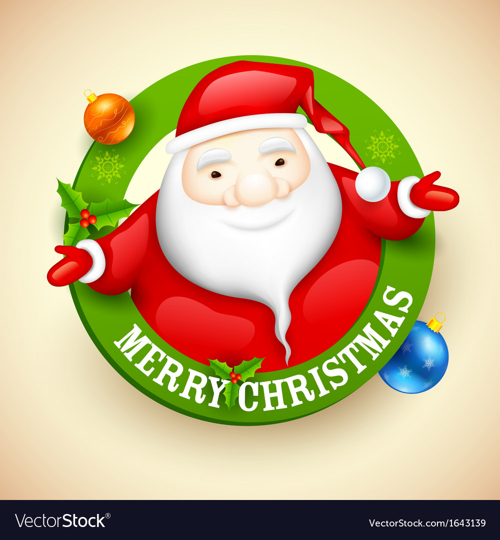 Santa wishing merry christmas vector | Price: 1 Credit (USD $1)