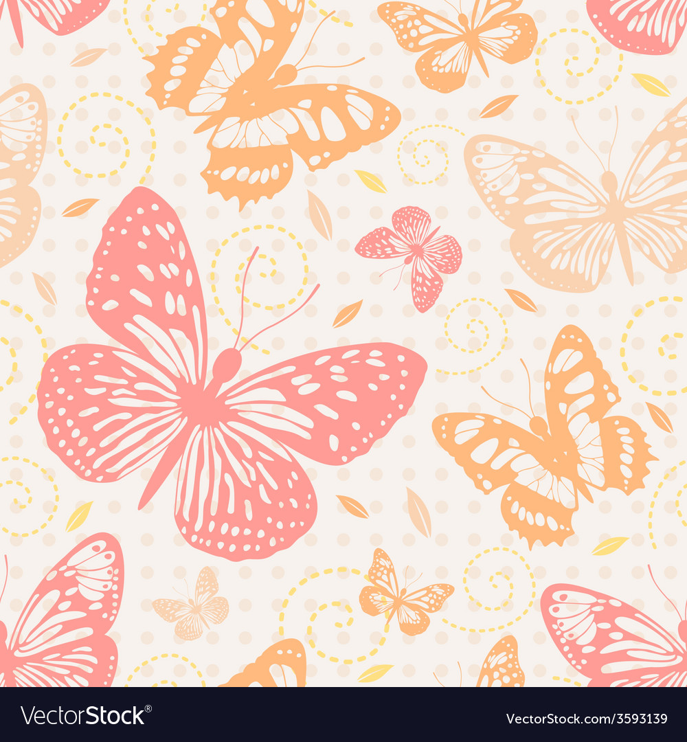 Seamless pattern with butterflies in neutral vector | Price: 1 Credit (USD $1)