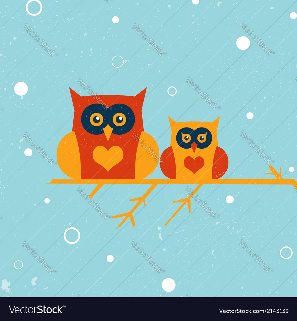 Two owls vector | Price: 1 Credit (USD $1)