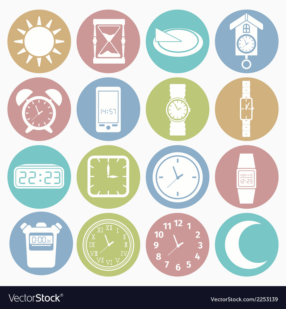 White icons time vector | Price: 1 Credit (USD $1)