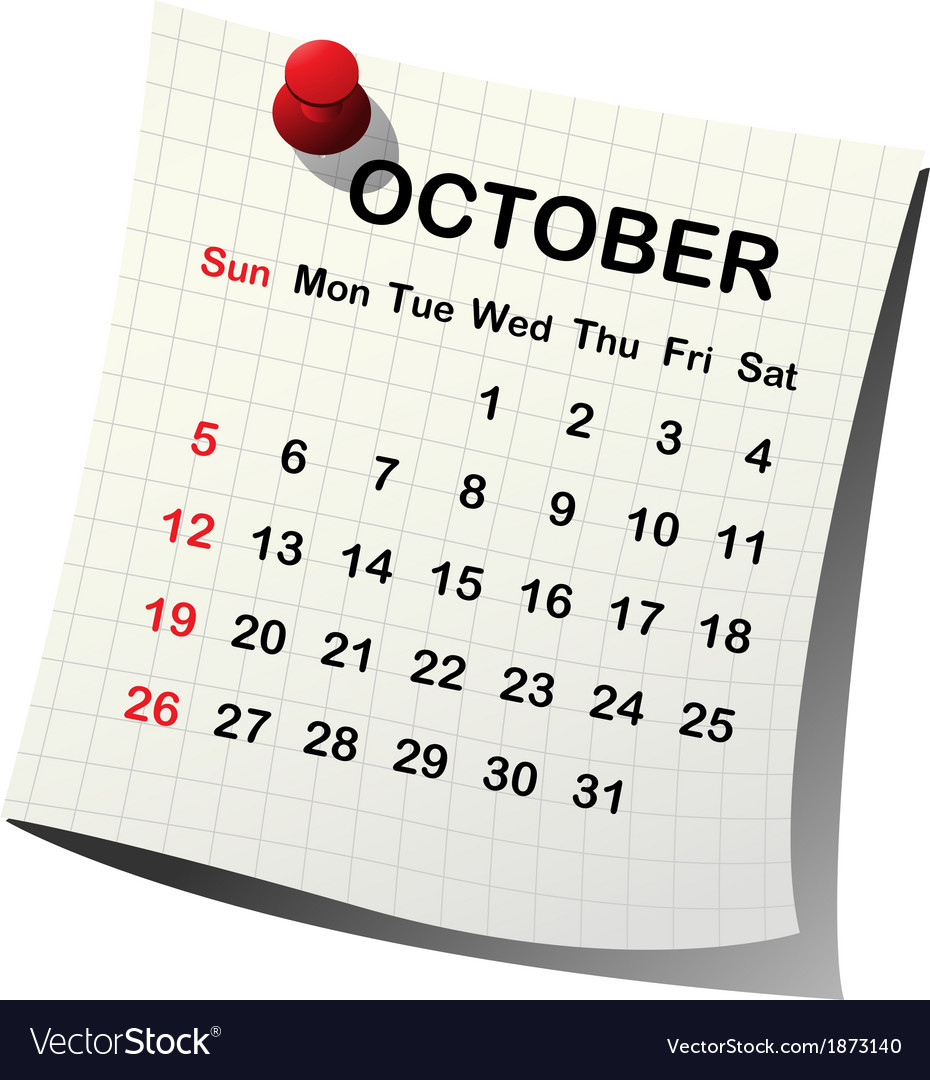 2014 paper calendar for october vector | Price: 1 Credit (USD $1)